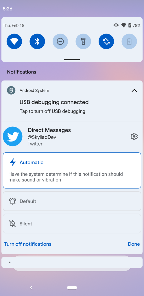 Android 12 Notification Automatic alert setting