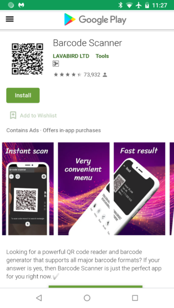 barcode scanner play store