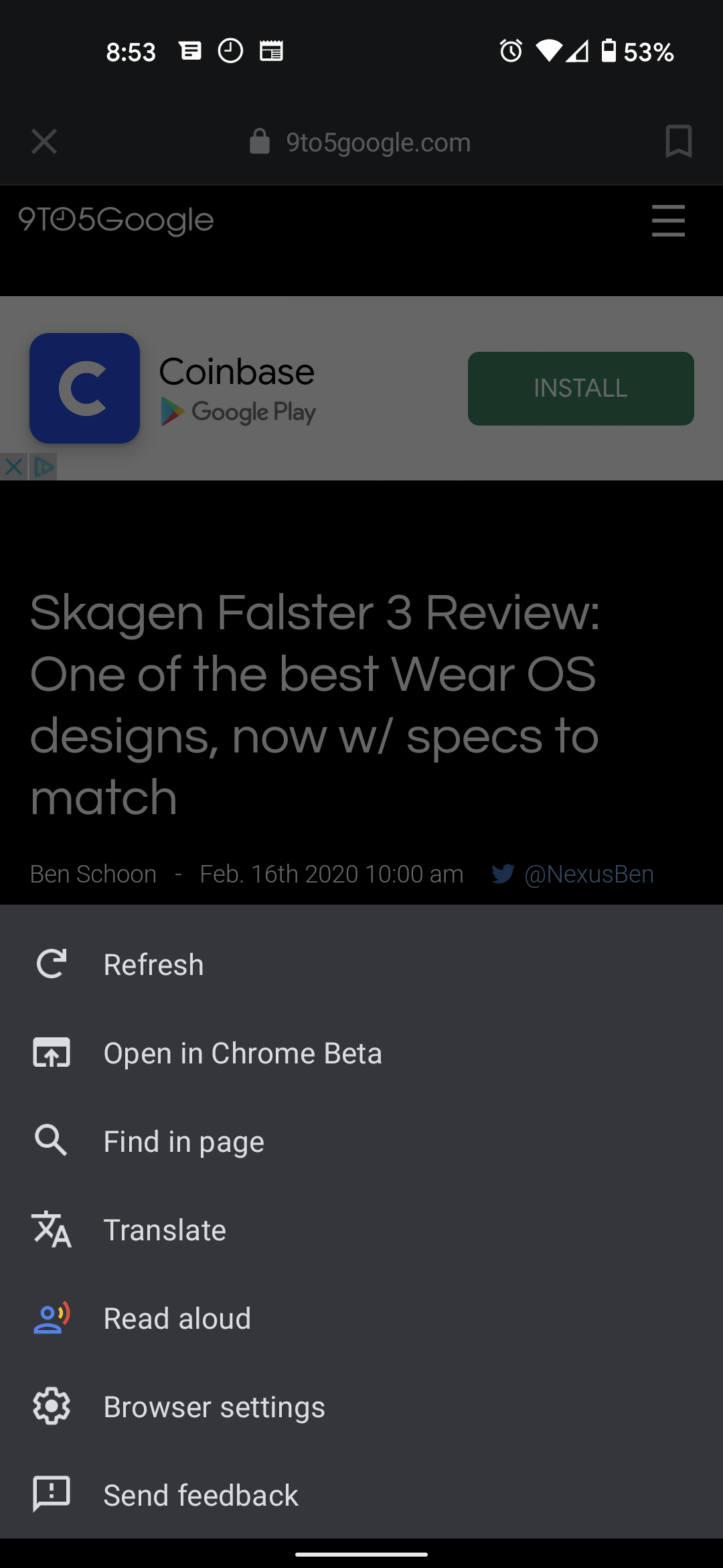 Read aloud and overlook options in the Google app's browser menu