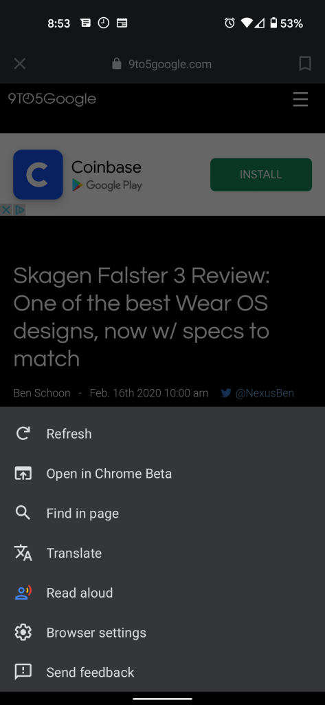 Read Aloud and Translate options in Google app browser menu