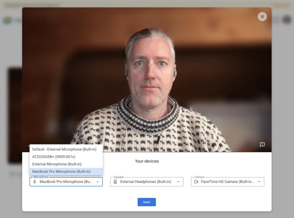 Google Meet preview video