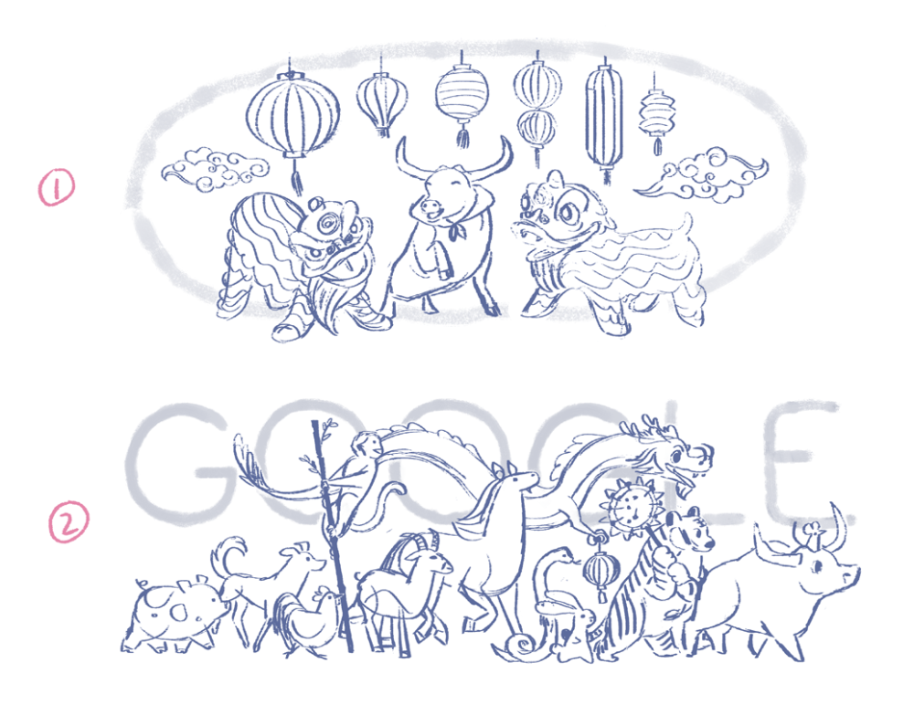 Early drafts of Lunar New Year 2021 Google Doodles