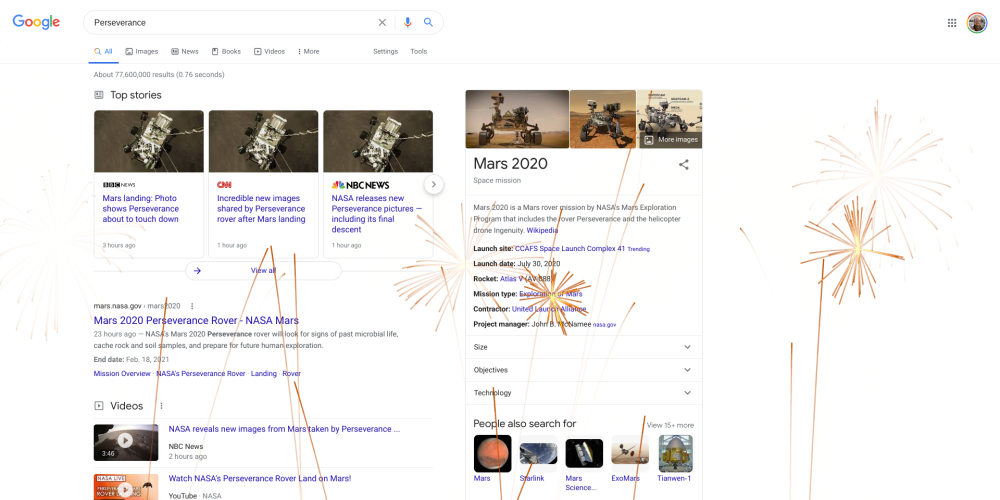 Google Search with fireworks to celebrate Perseverance rover landing