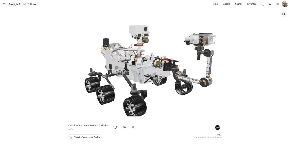 3D model of Perseverance rover in Google Arts & Culture