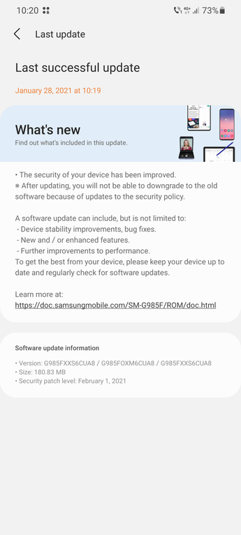 galaxy s20 february patch