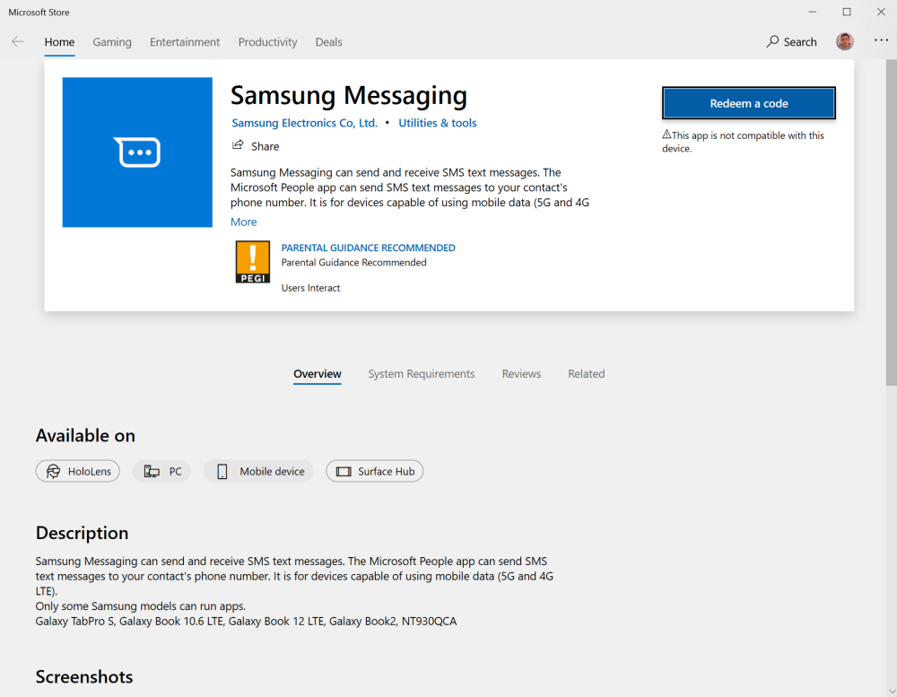 samsung messaging windows 10