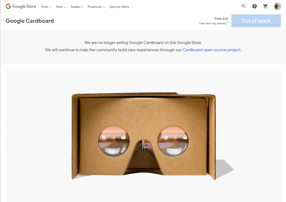 google cardboard no longer for sale on Google Store