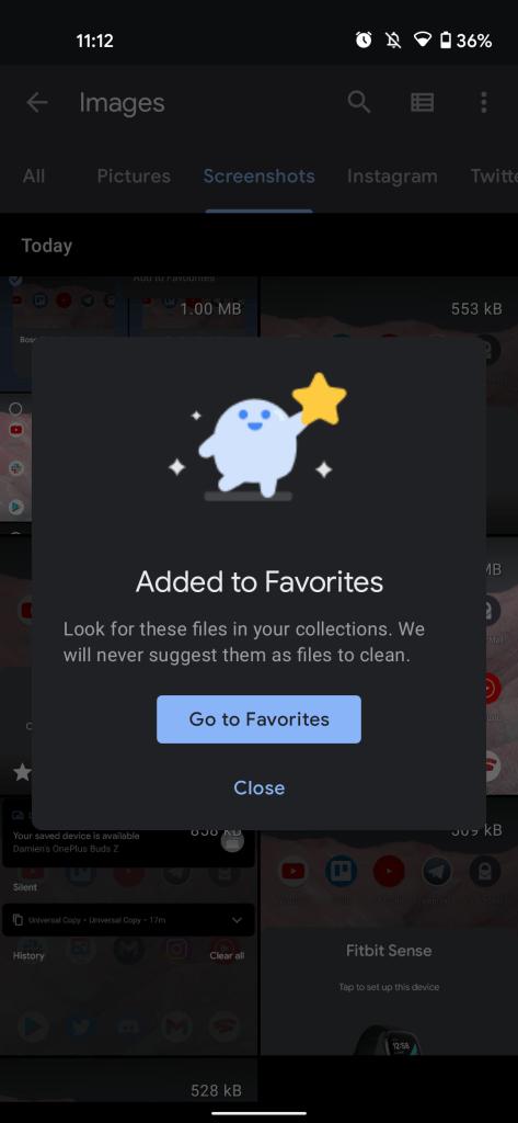 files by google favorites folder