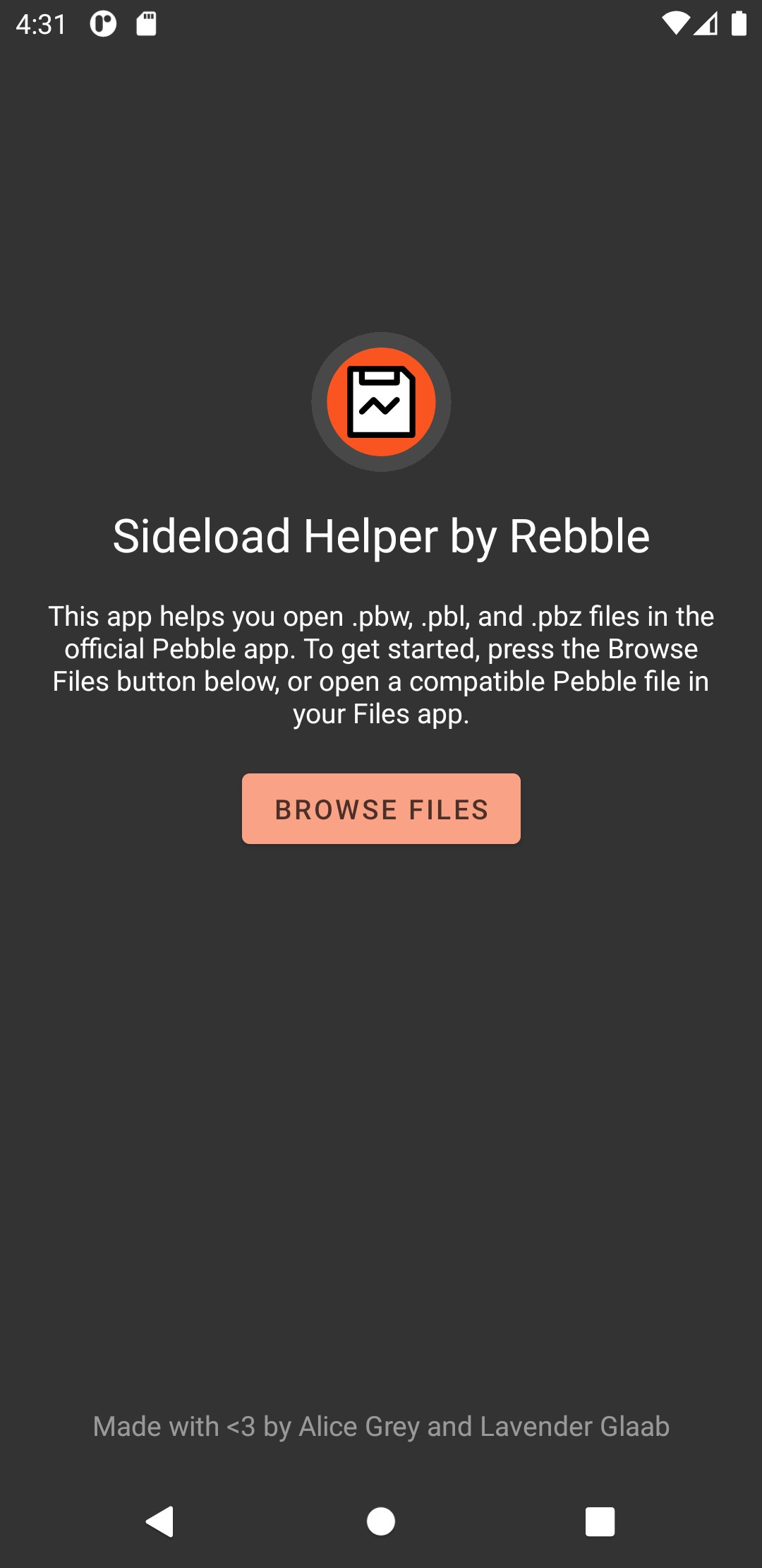 Sideload Helper by Rebble for pebble smartwatches