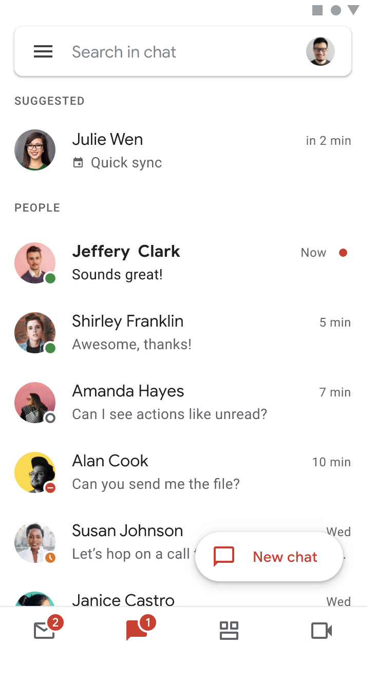 Google Chat suggestions