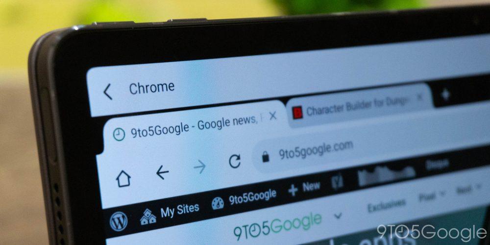 Google Chrome's desktop-like UI on an Android tablet