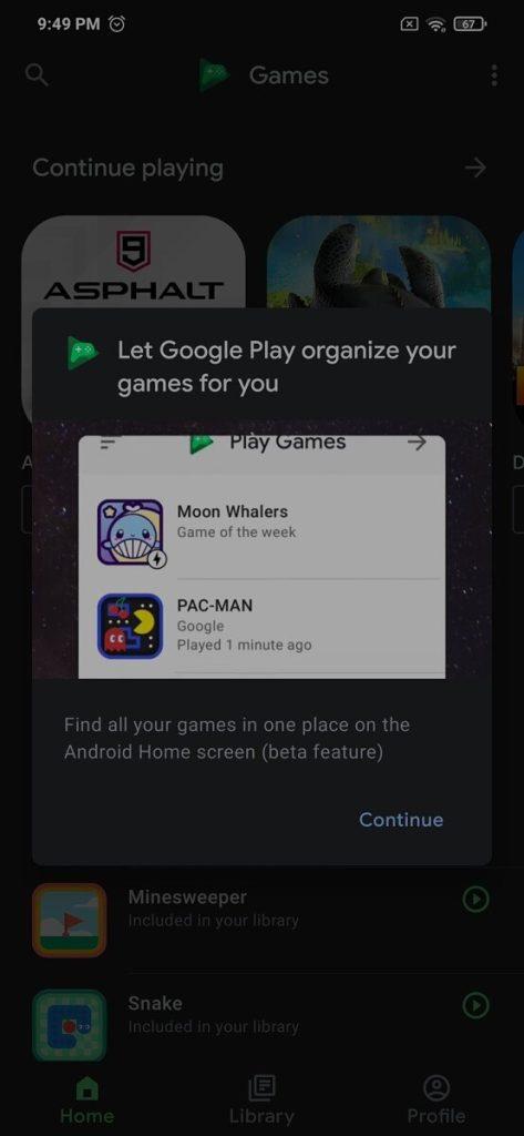 google play games folder