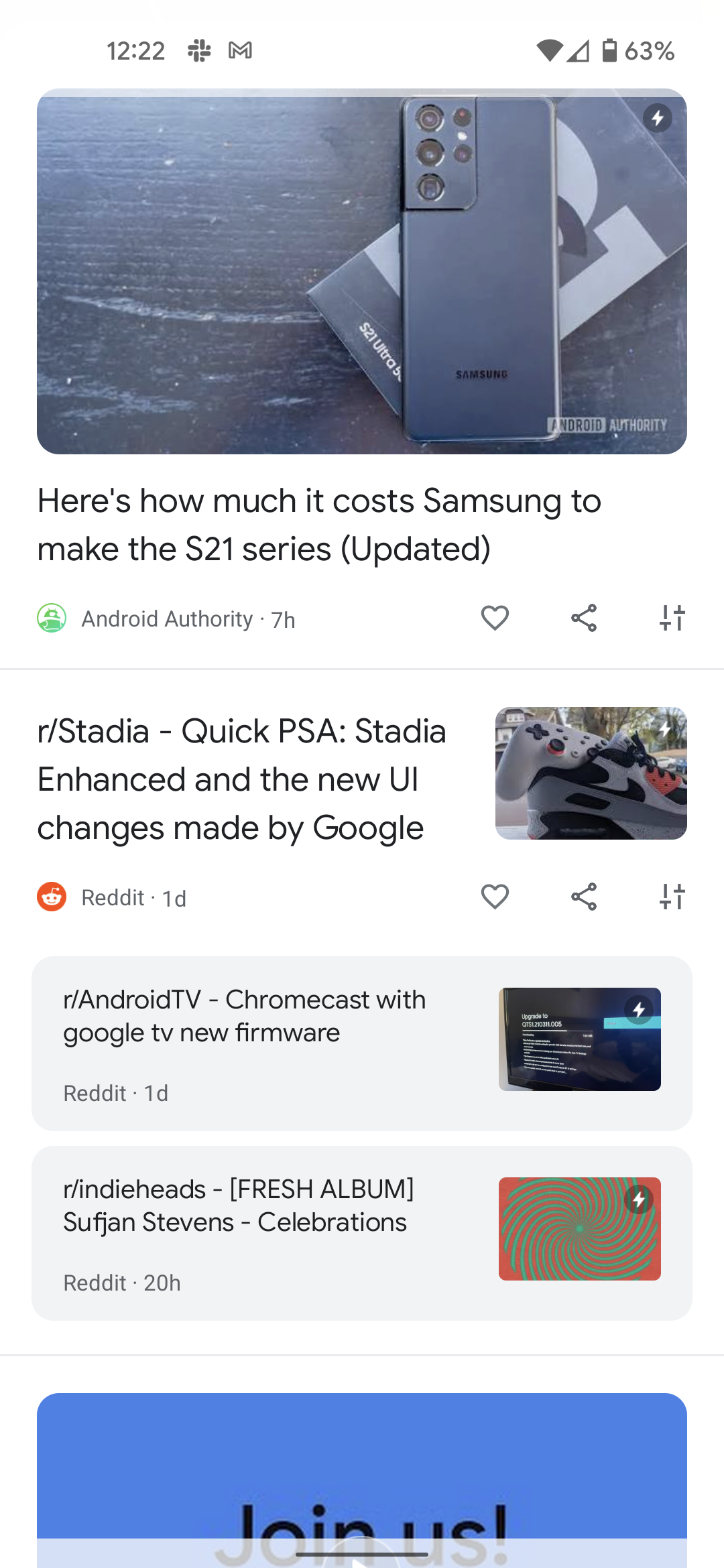 Google Discover redesign Android 12