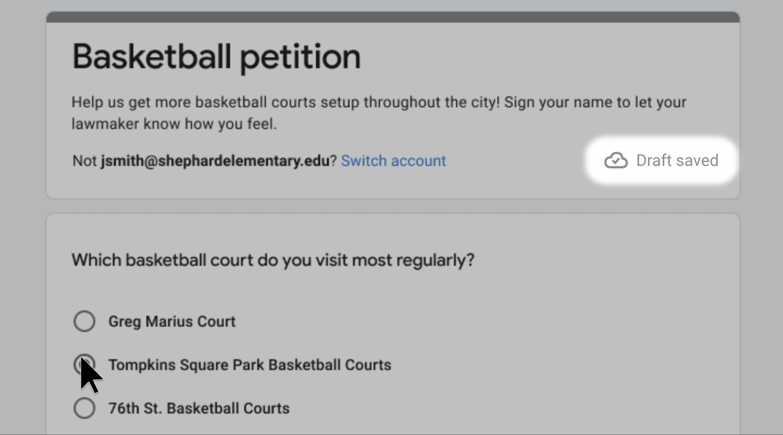 google forms save draft 1