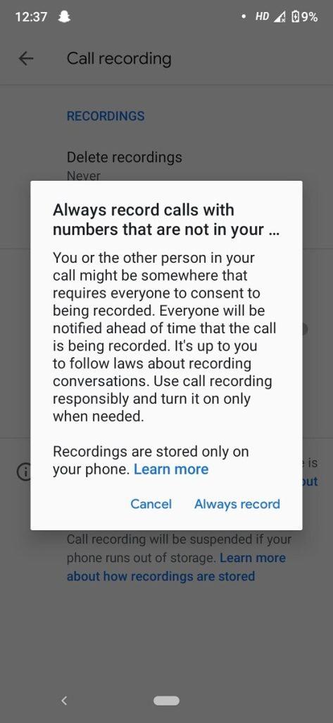 google phone record calls
