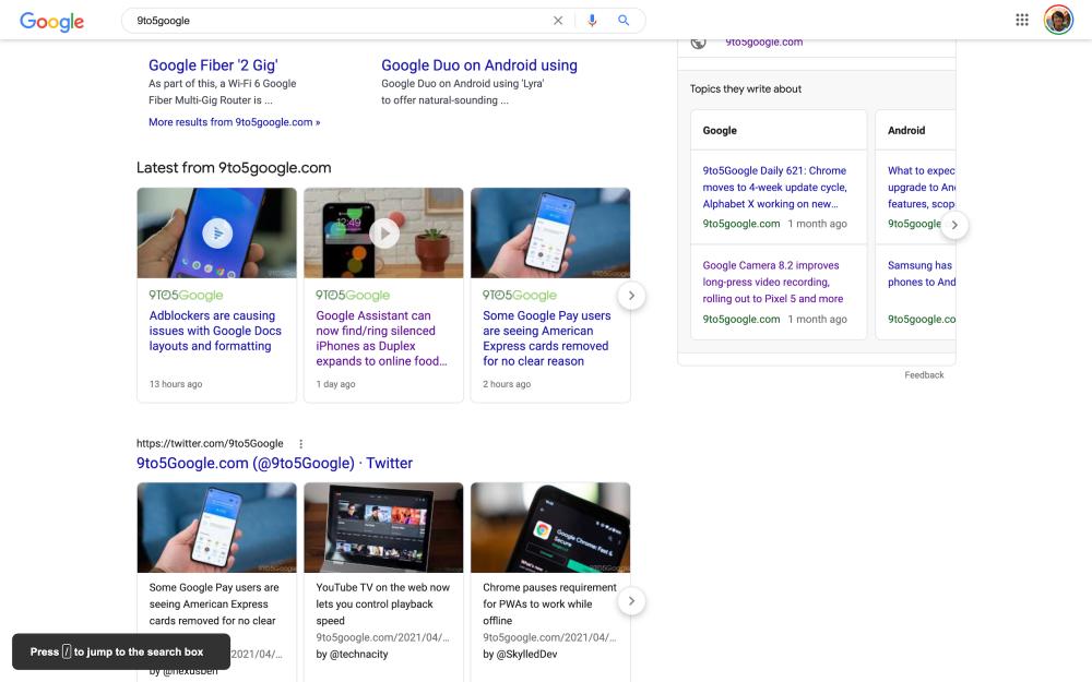 Google Search keyboard shortcut