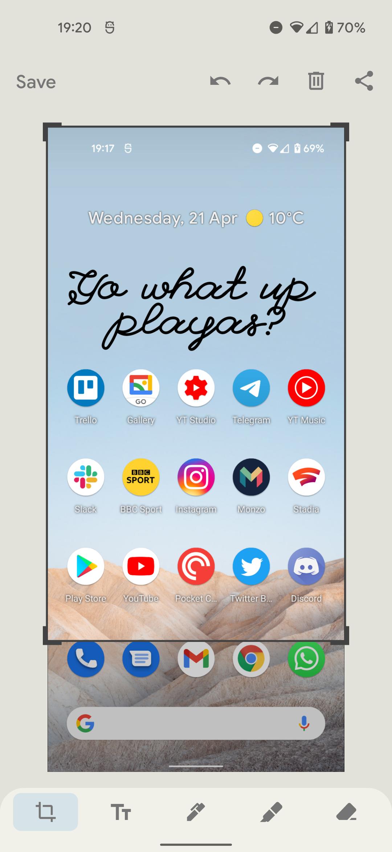 Android 12 screenshot editor