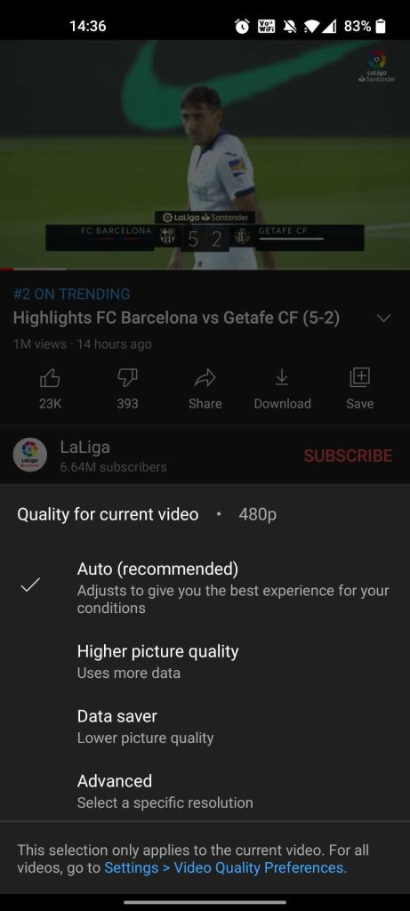 youtube video resolution mobile