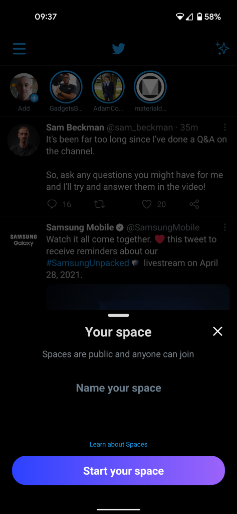 twitter spaces android