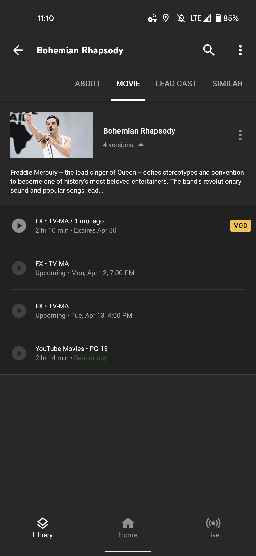 youtube tv watch movie buy 1