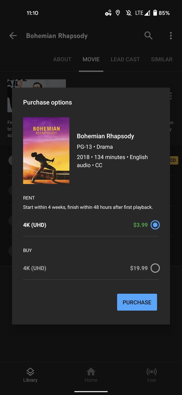 youtube tv watch movie buy 2