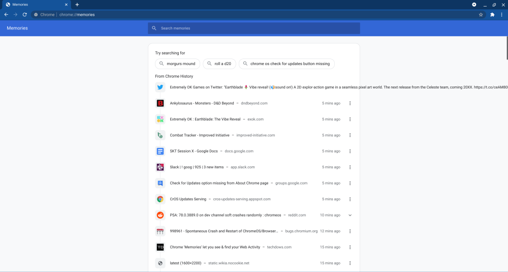 Chrome Memories page, showing a day's worth of browser history