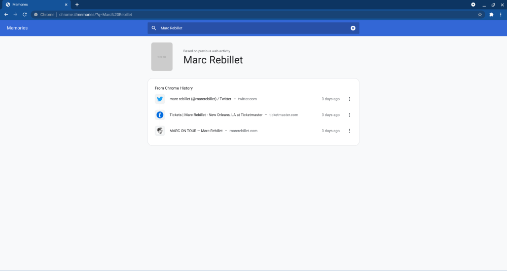 """Preview of Chrome Memories page searching for """"Marc Rebillet"""""""