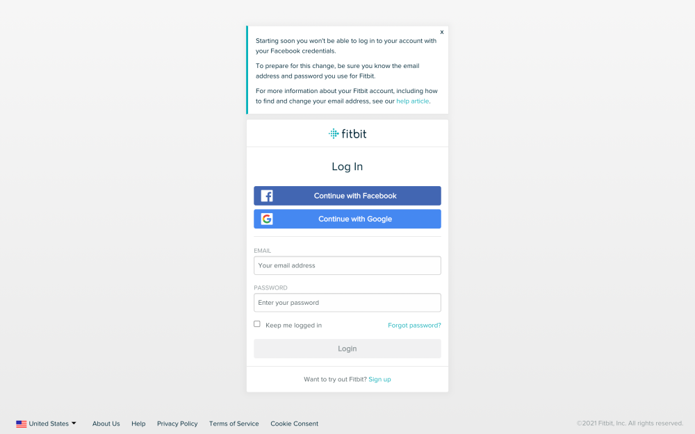 Fitbit Facebook log in