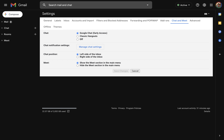 nouvelle activation du chat Gmail