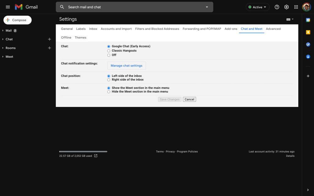 activar el nuevo chat de Gmail