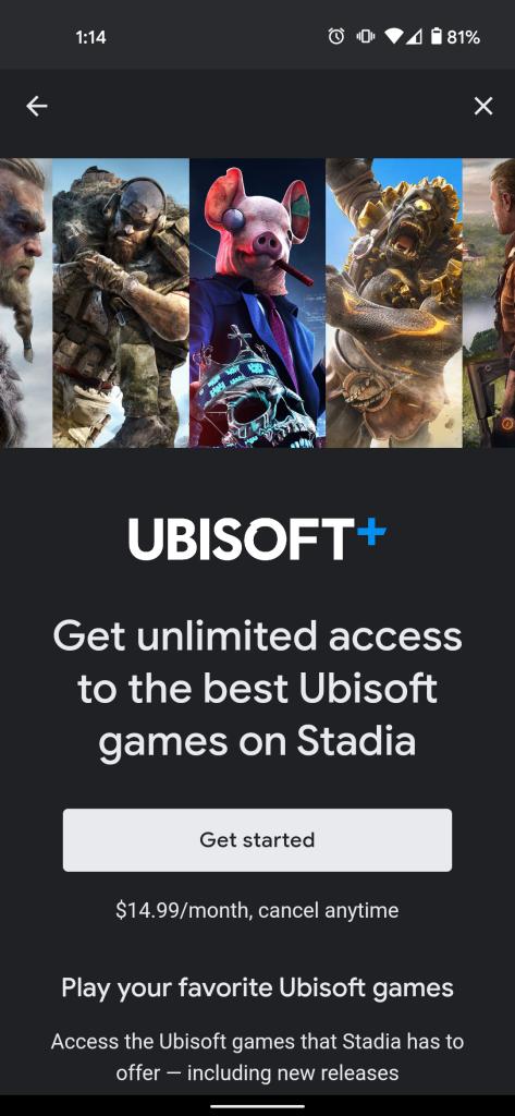 suscribirte Ubisoft + aplicación Stadia