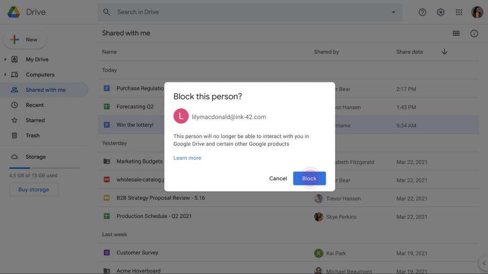 Google Drive block spam