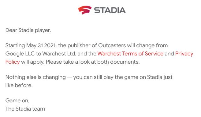 Outcasters, exclusivo de Stadia, está cambiando de editor tras el cierre de SG&E 1