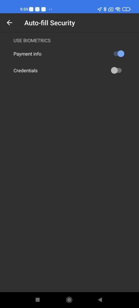 google autofill sync settings