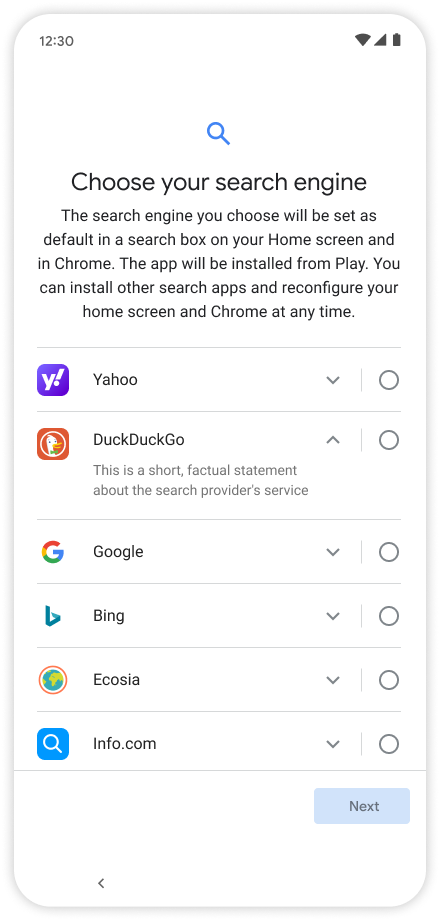 Android choice screen search