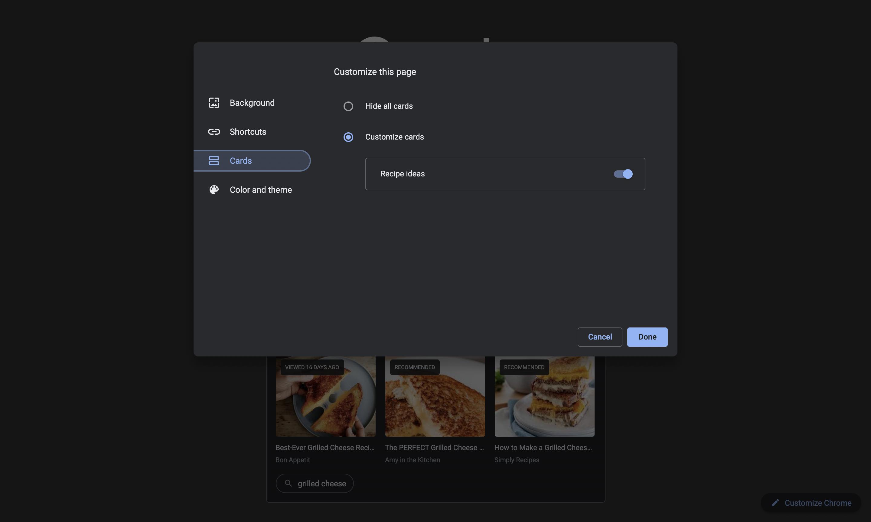 Chrome new tab cards