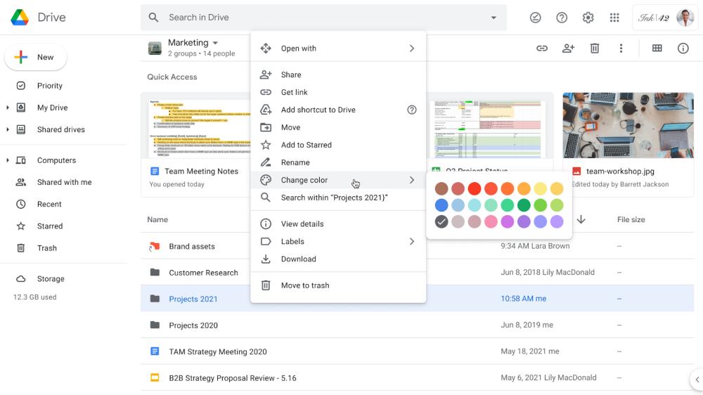 Google Drive color