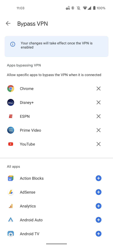 Omisión de VPN de Google One