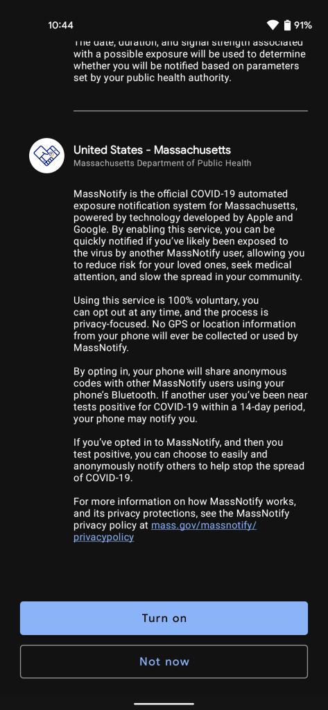 Massachusetts MassNotify app
