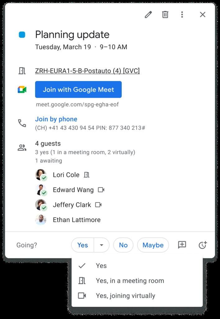 Google Calendar invite attendance