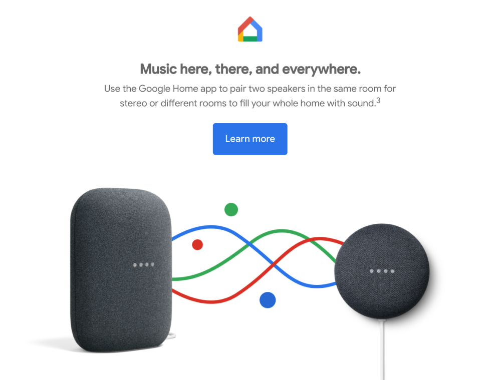 A screenshot of the promo email showing a Nest Audio paired with a Nest Mini.