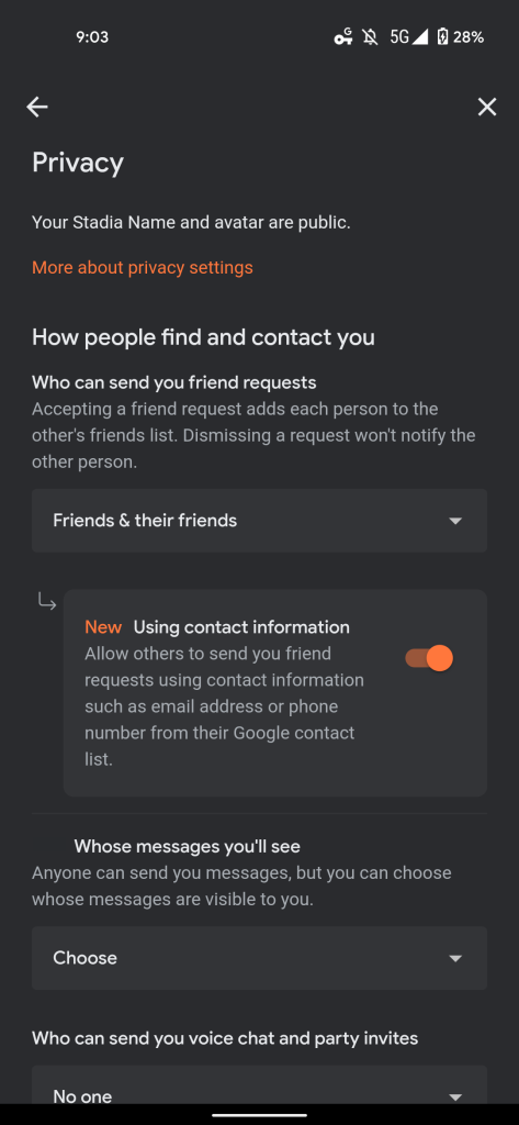 Stadia friend phone email