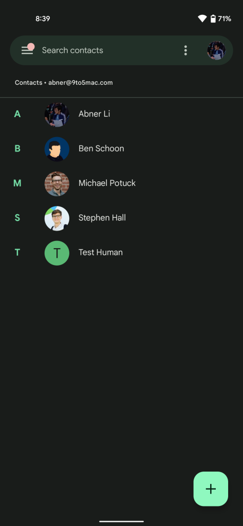 Google Contacts Material You redesign