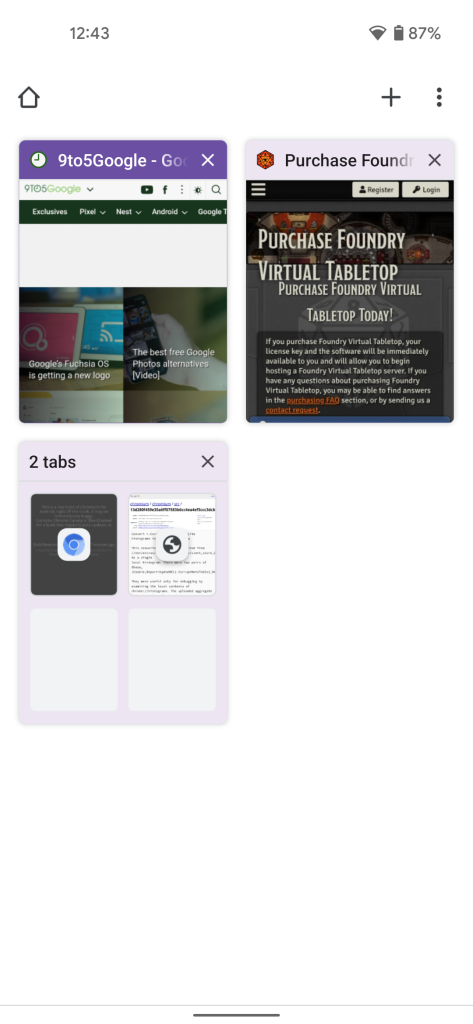 Chrome for Android's tab switcher using a purple Material You theme