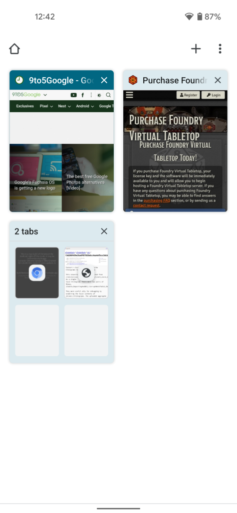 Chrome for Android's tab switcher using an aqua Material You theme