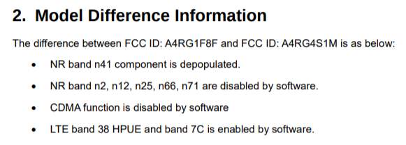 Snippet from Pixel 5a FCC listing explaining the differences between models