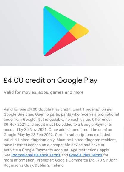google one £4 credit