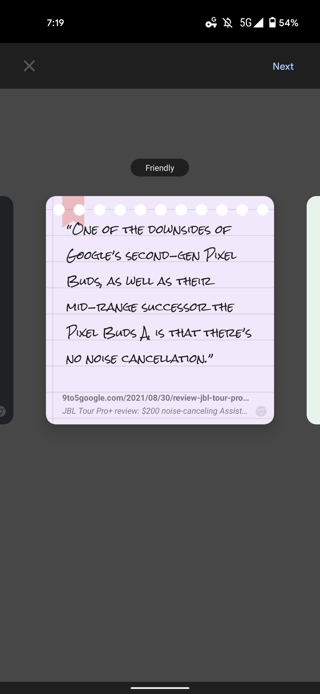 Chrome Android quote cards