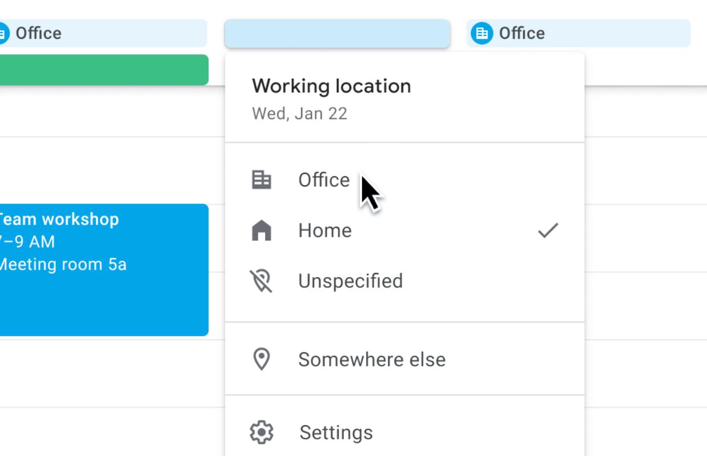Google Calendar work location