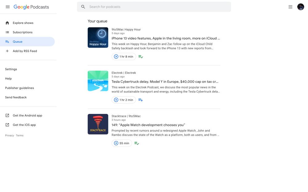 Google Podcasts web queue